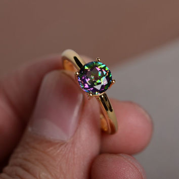 Mystic Topaz Ring Simple Rainbow Gemstone yellow  Gold  Ring Anniversary Gift Promise Ring