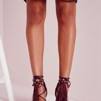 Missguided - Lace Up Tassel Block Heeled Sandals Berry