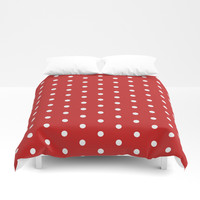 Polka dot pattern, classic red, dotted, retro style design, points, circles, ovals, vintage pin-up Duvet Cover by hmdesignspl