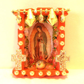 Virgin of Guadalupe Nicho Mexican Magnet Dia de los Muertos Altar Day of the Dead Decor Shrine