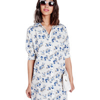 Floral Print Shirt Collar Long Sleeve Mini Shift Dress