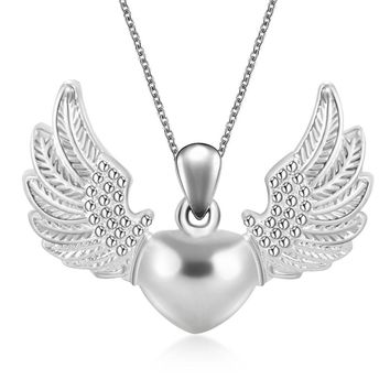 Hollow Angel Wings Heart Pendant Necklace