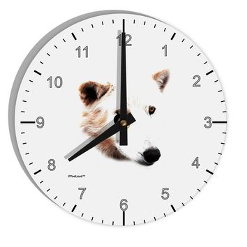 "White Wolf Head Cutout 8"" Round Wall Clock with Numbers"