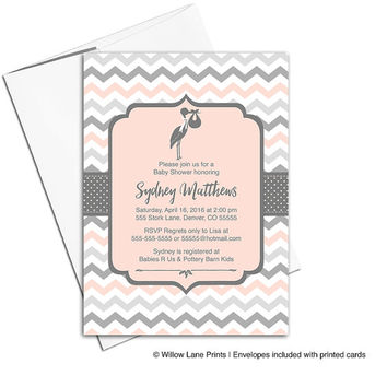 gender neutral baby shower invitations with a stork in peach and gray | printable invitations | chevron baby shower invites - WLP00857