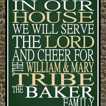 Customized Name William & Mary Tribe NCAA Basketball personalized family print poster Christian gift sports wall art - multiple sizes