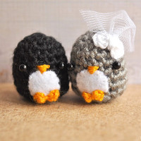 Amigurumi Penguin, Crocheted doll, wedding gift, bride, cute keychain, kawaii charm, matching keychains, bridal shower gift, MADE TO ORDER