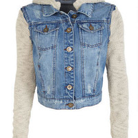 Sweater Knit Denim Jacket
