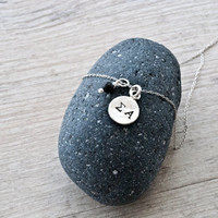 Personalized Initial Necklace, Hand Stamped Sterling Silver, Lava Rock Charm, Greek Letter Initial Charm, Personalized Gift, Monogram Charm