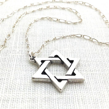 Sterling Silver Star of David Necklace, Jewish Star Pendant Necklace, Magen David, Religious Judaica Jewelry