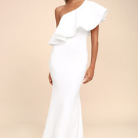 So Amazed White One-Shoulder Maxi Dress
