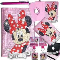 iPad Mini PINK Minnie Crystal & Rhinestone Rotating Faux Leather Case with Built In Stand & FREE Jersey Bling® Stylus (iPad Mini, Pink - Minnie)