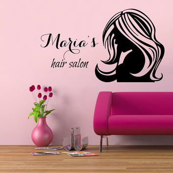 Wall Decals Fashion Girl Woman Hairdressing Salon Custom Name Hair Salon Interior Art Mural Vinyl Decal Sticker Living Room Dorm Decor kk303
