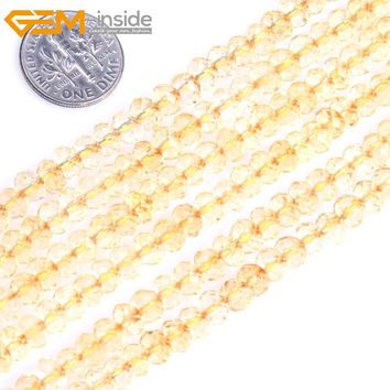 Gem-inside AAA Natural Faceted Heishi Rondelle Disc Spacer Beads Citrines Quartz Beads For Jewelry Making Strand 15'' DIY
