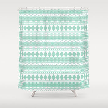 "Mint Tribal Shower Curtain, 71""x74"""