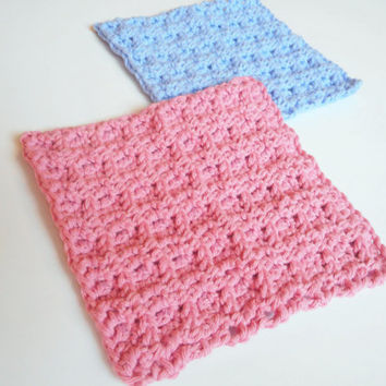 Waffle Stitch Cotton Face Cloths in Pink and Cornflower, Crochet Set of Two, ready to ship.