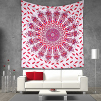 Pink ombre mandala beach throw tapestry