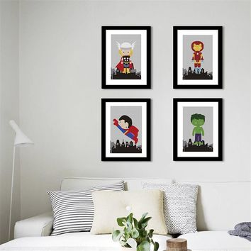 Cartoon super hero Painting Nursery Kids Room quality Home Decor Art Decor posters wall art canvas painting No Frame E196