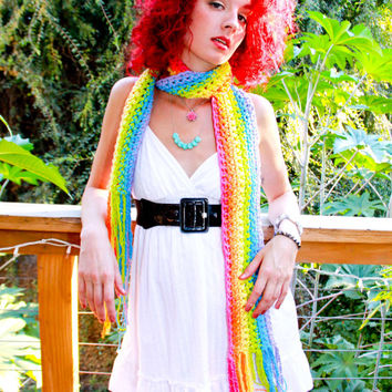 Magic Rainbow Scarf! - Vividly Bright Crocheted Cotton Multicolored Long Scarf - Super Soft & Ready To Ship