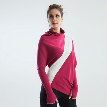 Batwing women's sweater asymmetric loose top sleeves with thumb holes - Square cherry