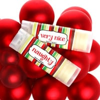 Naughty or Nice Peppermint lip balms. Stocking stuffer for Holiday