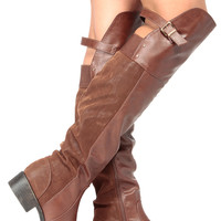Brown Faux Leather Knee High Riding Boots
