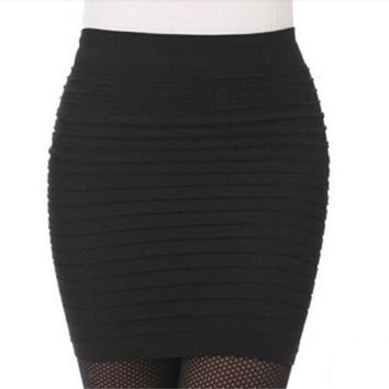 The Most Cheap New Color Fashion 2018 Summer Ladies Skirt High Waist Candy Color Plus Large Elastic Pleated Skirt A-Line Skirt