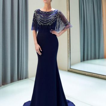 Wedding Bouquet Navy Blue Evening Dresses with Wrap Beaded Mermaid Elastic Satin Long Prom Gowns