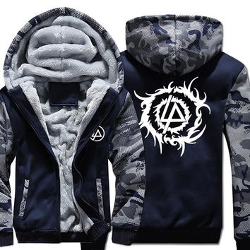 New Winter Warm LINKIN PARK Hoodies Rock Band Hooded Coat Thick Zipper men cardigan Jacket Sweatshirt  &1216
