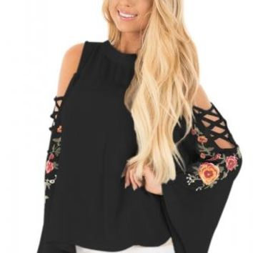 Ally Embroidered Bell Sleeve Blouse