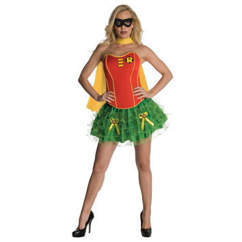 Red and Green Tiered Skirt Robinhood Costume