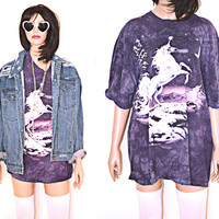 90s Vintage Unicorn T Shirt Oversized Fantasy Purple Moon Star Magic XXL