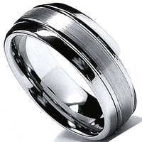 Tungsten Carbide Men's Ladies Unisex Ring Wedding Band 8MM (5/16 inch) Dome High Polish Matte Comfort Fit (Available in Sizes 8 to 12)