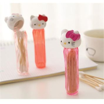 Cartoon Hello kitty Cat Toothpicks Holder Cotton Swab Box Cotton Bud Holder Case Table Decorate Storage Box Organizer D0