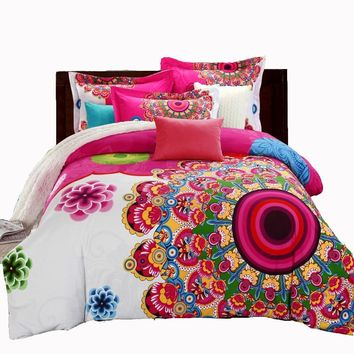 Mandala Duvet Cover Sets Bohemian Style Boho Print Bedsheet Duvet Cover Pillowcase Adult Double Bed King Size 4pcs Bedding Set