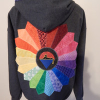 Gray Grateful Dead Rainbow Cats Under Stars Upcycled Zip Up Hoodie with Celtic Trim OOAK Size L Patchwork  Hippie clothes