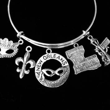New Orleans Jewelry Louisiana Bourbon Street Fleur De Lis Adjustable Silver Charm Bracelet Expandable Wire Bangle One Size Fits All Gift Trendy Mardi Gras