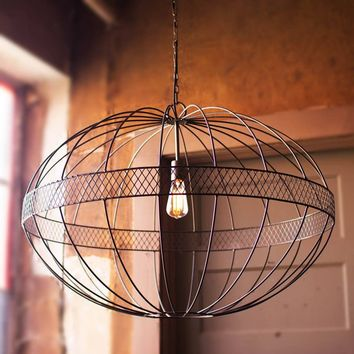 Large Wire Ellipsoid Pendant Light
