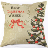 Best Christmas Wishes Cotton Linen Throw Pillow Case Cushion Cover Home Sofa Decorative