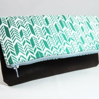 Emerald green herringbone, chevron, feather print cotton and brown faux leather fold over clutch