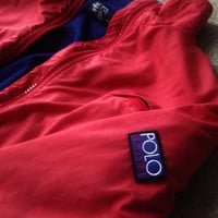Vintage Polo Sport Ralph Lauren Jacket Size L coat red windbreaker fleece