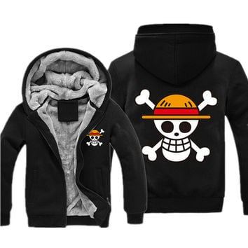 One Piece Sweatshirt Japan Anime Coat Luffy Chopper Print Thicken Zipper One Piece Anime Jacket Casual Mens Sweatshirt Hoodies