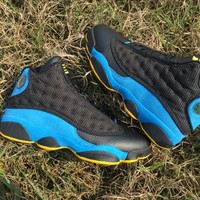 [Free Shipping ]Air Jordan Retro 13 XII CP3 Chris Paul Away Hornet Black/ Blue/ Yellow Basketball Sneaker