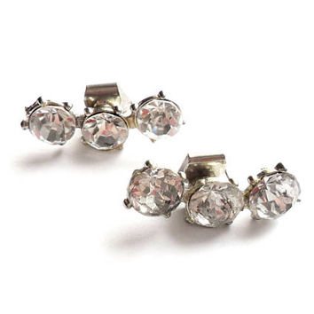 Vintage Rhinestone Shoe Clips Clear Glass Paste Stone Pot Metal Silver Tone Wedding Bridal Bride Something Old 1940s