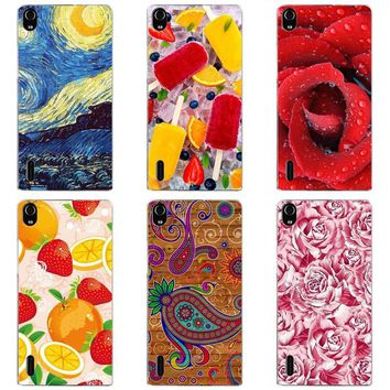 Luxury Printing Case For Huawei Ascend P7 P7-L00 P7-L05 P7-L10 P7-L11 Art Print Flower Phone Cover Rose Funda Cute Animal Coque