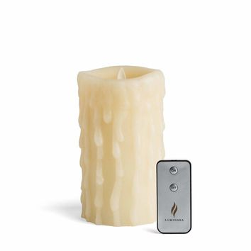 "Luminara 7"" Heavy Wax Drip Flameless Candle with Remote"