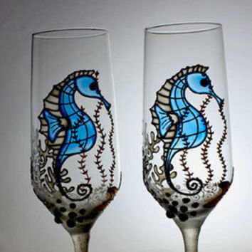 Beach wedding, Beach wedding glasses, Wine glasses, Seahorse glasses, Hand painted glasses, Beach wedding toasting flutes