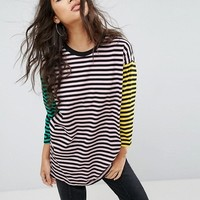 ASOS Cut about Coloublock Stripe Oversized Top at asos.com