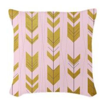 Pink Gold Arrows Pattern Woven Throw Pillow> Pink Gold Arrows Pattern> Wedding Little Treasures