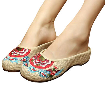 Cotton Mary Jane Chinese Shoes for Women in Beige Floral Embroidery Design