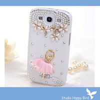 FREE SHIP Vans Bling Rhinestone Crystal Dancing Girl Phone Hard Cover Case for Samsung i9300 Galaxy S3